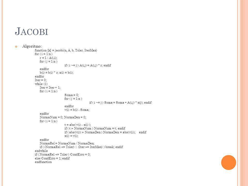 Jacobi Algoritmo: function [x] = jacobi(n, A, b, Toler, IterMax)